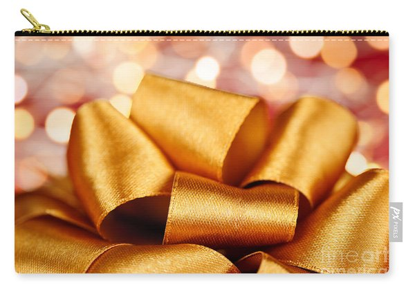 Gold Gift Bow With Festive Lights Carry-all Pouch