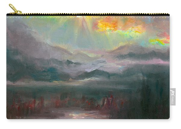 Carry-all Pouch featuring the painting Gold Lining - Chugach Mountain Range En Plein Air by Talya Johnson