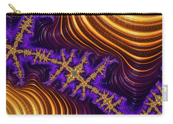 Golden And Purple Fractal River And Mountain Landscape Carry-all Pouch