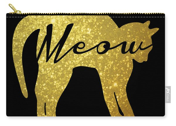 Golden Glitter Cat - Meow Carry-all Pouch