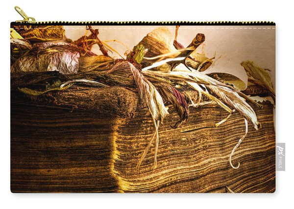 Golden Pages Falling Flowers Carry-all Pouch