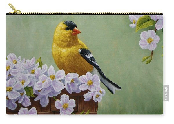 Goldfinch Blossoms Greeting Card 3 Carry-all Pouch