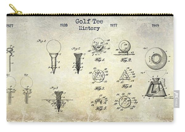 Golf Tee Patent History Drawing Carry-all Pouch