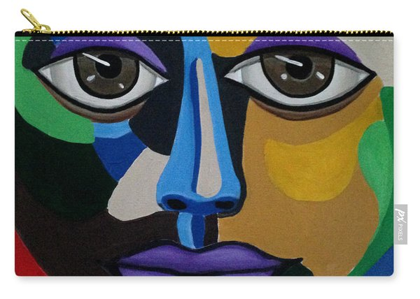 Colorful Illusion Abstract Face Art Painting, Big Brown Eye Art, Optical Artwork Carry-all Pouch