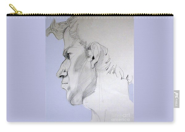 Graphite Portrait Sketch Of A Young Man In Profile Carry-all Pouch