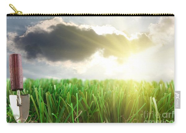 Grass And Trowel Close Up With Sky Carry-all Pouch