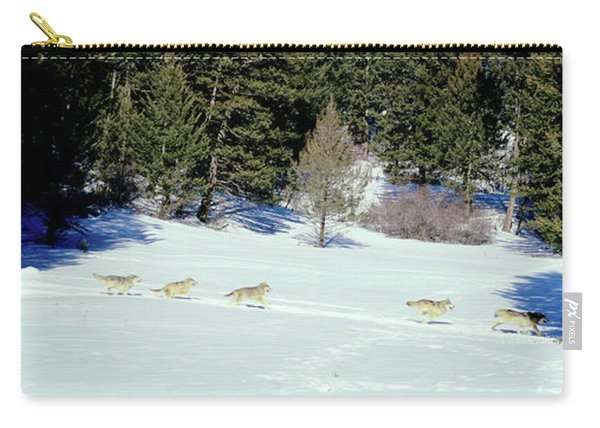 Gray Wolves Canis Lupus Running Carry-all Pouch