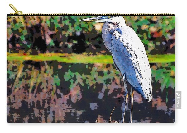 Great Blue Heron At The Pond Carry-all Pouch