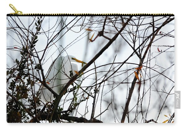 Great Egret Roosting In Winter Carry-all Pouch