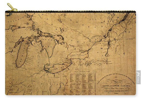 Great Lakes And Canada Vintage Map On Worn Canvas Circa 1812 Carry-all Pouch