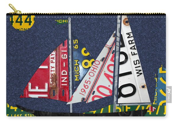Great Lakes States Sailboat Recycled Vintage License Plate Art Carry-all Pouch