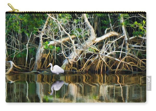 Great White Egret And Reflection In Swamp Mangroves Carry-all Pouch
