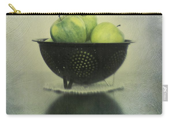 Green Apples In An Old Enamel Colander Carry-all Pouch