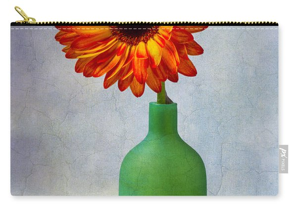 Green Bottle With Orange Daisy Carry-all Pouch