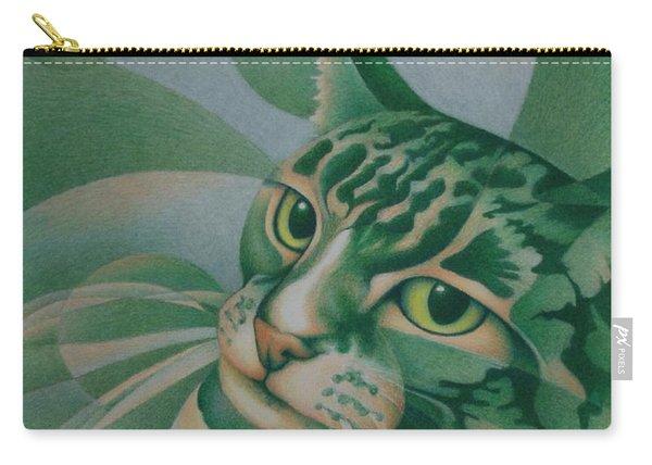 Green Feline Geometry Carry-all Pouch
