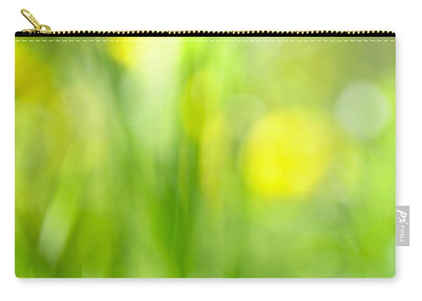 Green Grass With Yellow Flowers Abstract Carry-all Pouch