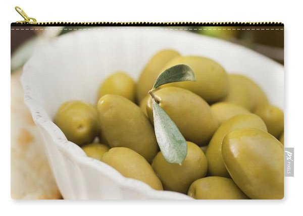 Green Olives In White Bowl Carry-all Pouch