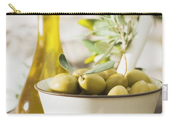 Green Olives, Olive Sprig And Olive Oil On Table Out Of Doors Carry-all Pouch
