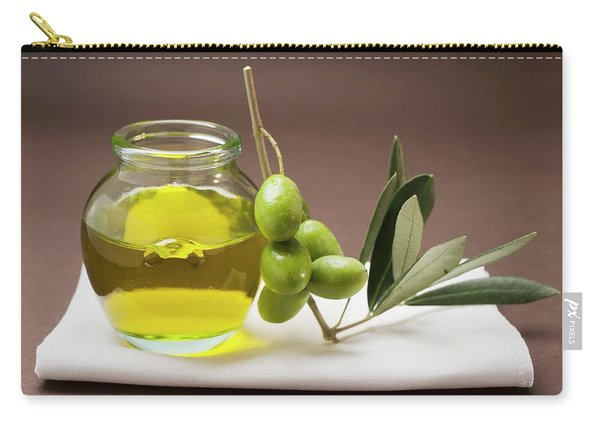 Green Olives On Twig Beside Jar Of Olive Oil Carry-all Pouch