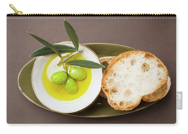 Green Olives On Twig In Bowl Of Olive Oil, White Bread Carry-all Pouch