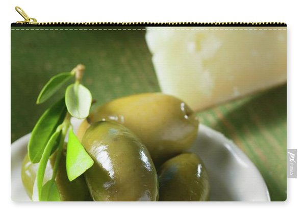 Green Olives With Olive Sprig On Plate, Cheese In Background Carry-all Pouch