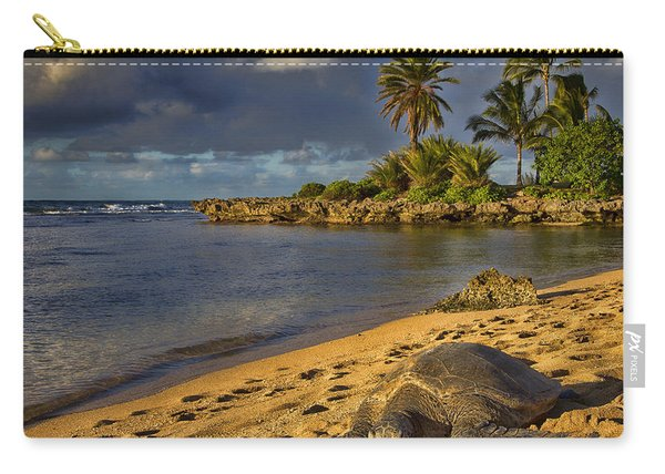 Green Sea Turtle At Sunset Carry-all Pouch
