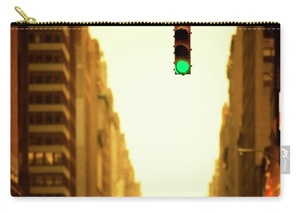 Green Traffic Light Between Buildings Carry-all Pouch