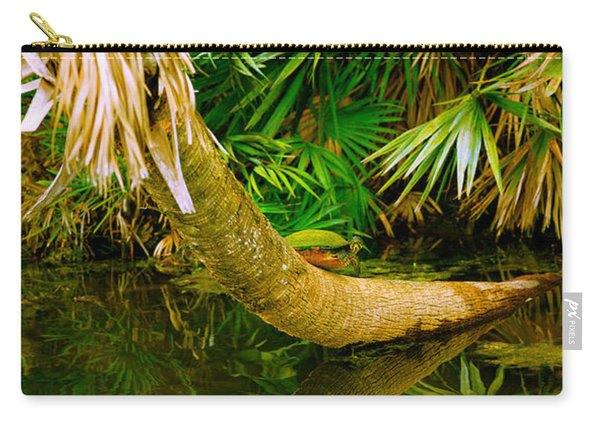 Green Turtle Chelonia Mydas In A Pond Carry-all Pouch