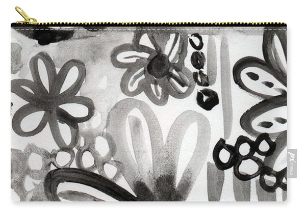 Grey Garden- Abstract Floral Painting Carry-all Pouch