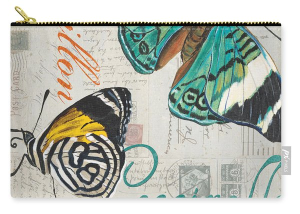 Grey Postcard Butterflies 2 Carry-all Pouch
