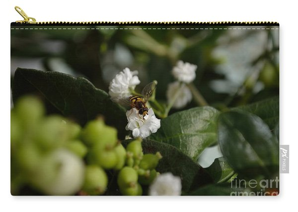 Carry-all Pouch featuring the photograph Gypsophilia Hover Fly by Scott Lyons