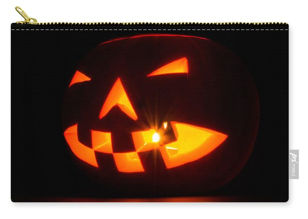 Carry-all Pouch featuring the photograph Halloween - Smiling Jack O' Lantern by Scott Lyons