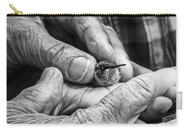 Hands Holding A Hummingbird Carry-all Pouch