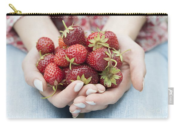 Hands Holding Fresh Strawberries Carry-all Pouch