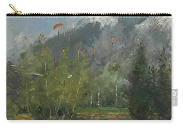 Hang Gliders At Chamonix, 2007 Oil On Canvas Carry-all Pouch