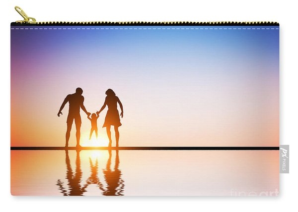 Happy Family Together Parents And Their Child At Sunset Carry-all Pouch