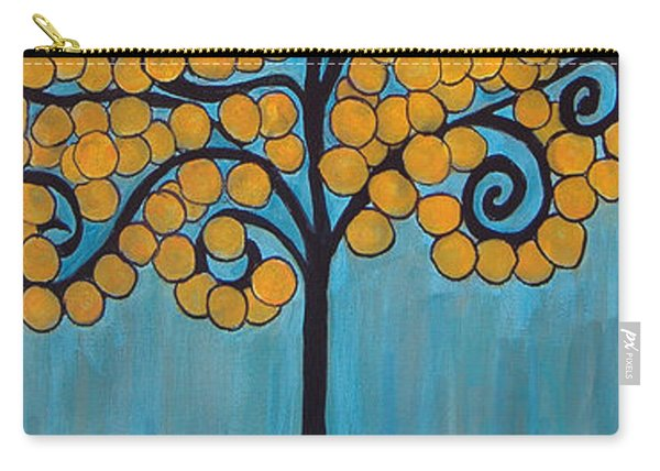 Happy Tree In Blue And Gold Carry-all Pouch
