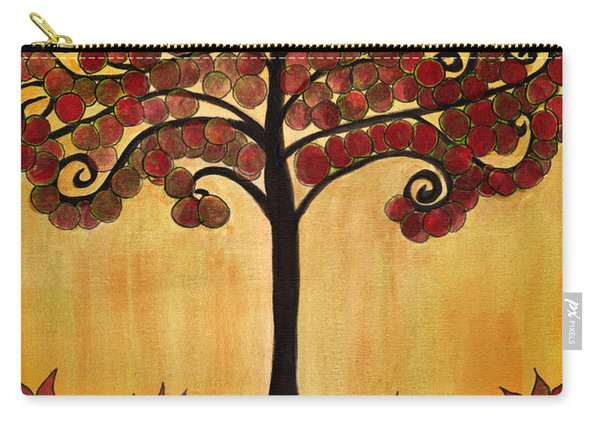Happy Tree In Red Carry-all Pouch