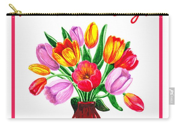 Happy Valentines Tulip Bouquet Carry-all Pouch