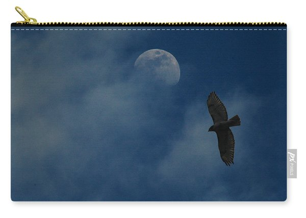 Hawk And Moon Coming Out Of The Mist Carry-all Pouch