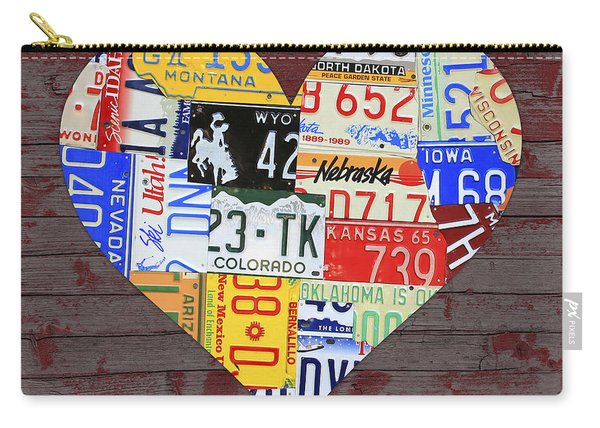 Heart Of America Usa Heartland Map License Plate Art On Red Barn Wood Carry-all Pouch