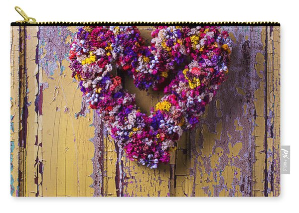 Heart Wreath On Yellow Door Carry-all Pouch