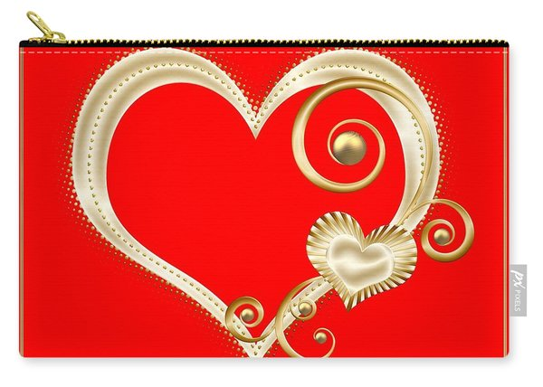 Hearts In Gold And Ivory On Red Carry-all Pouch