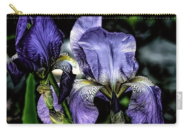 Heirloom Purple Iris Blooms Carry-all Pouch