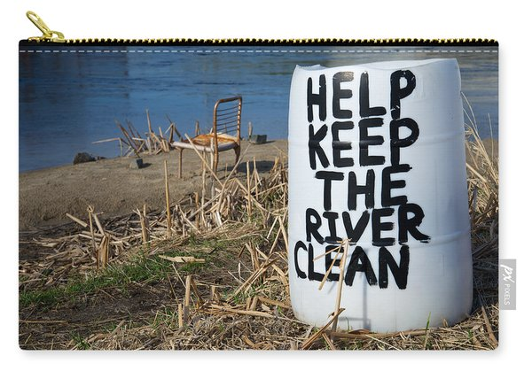 Carry-all Pouch featuring the photograph Help Keep The River Clean by Mary Lee Dereske