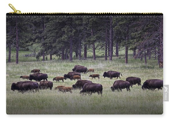 Herd Of American Buffalo Or Bison In Custer State Park Carry-all Pouch