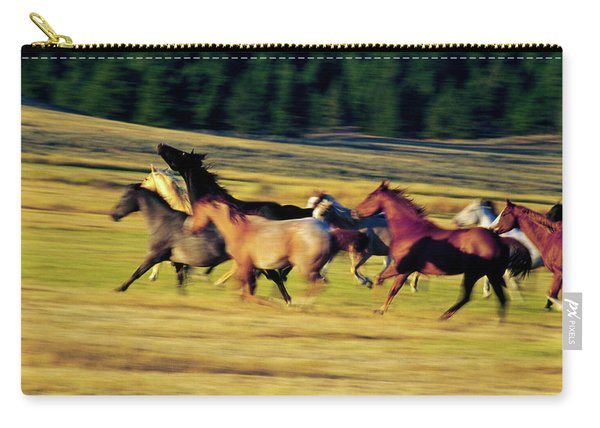 Herd Of Horses Running, Oregon, United Carry-all Pouch