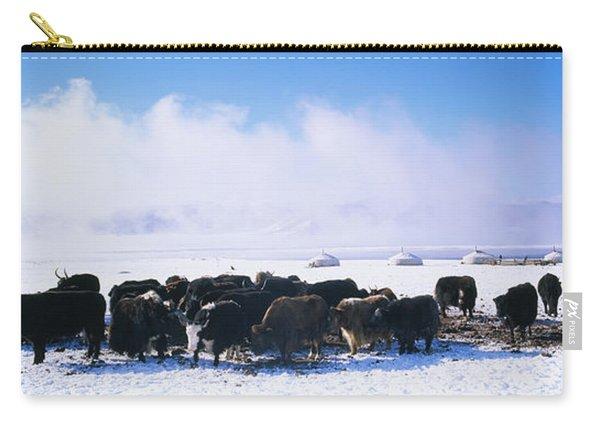 Herd Of Yaks On A Polar Landscape Carry-all Pouch