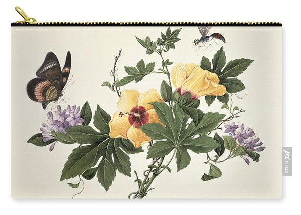 Hibiscus And Butterfly Carry-all Pouch