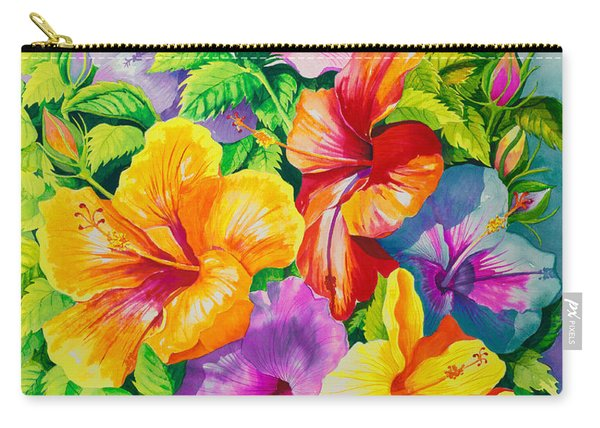 Hibiscus Rainbow Array Carry-all Pouch